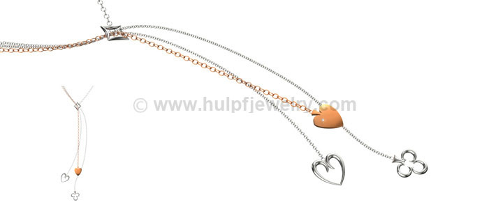 Stainless steel necklace with rhodium plating, Hulpf jewelry China